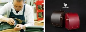 (左)職人がひとつひとつ手づくり (右)50年の技と想いを注いだランドセル「軽井澤」